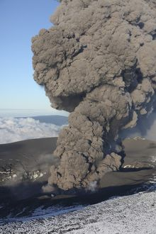 Aerial view of ash cloud eruption from Eyjafjallajokull Volcano, Iceland