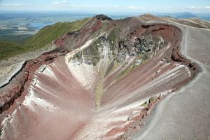Aerial view of rhyolite dome complex, Mount Tarawera volcano, New Zealand