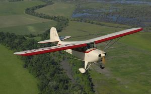 Aeronca Chief flying over Sacramento Valley, California