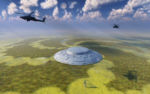 AH-64 Apache Black Ops helicopters flying around a crop circle with UFO at center
