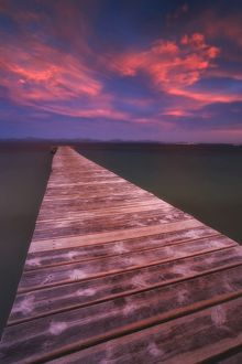 Alcudia Beach pier in Mallorca, Spain