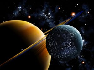 Two artificial moons travelling around a gas giant devouring the natural moons