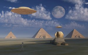 Artist's concept of Grey aliens helping the Egyptians build the pyramids