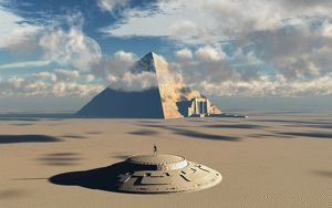 Artist's concept illustrating how aliens helped to build ancient Egyptian monuments