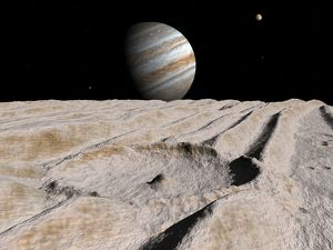 Artist's concept of an impact crater on Jupiter's moon Ganymede, with Jupiter