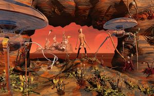 Artist's concept of life on Mars before it became the lifeless planet we know today