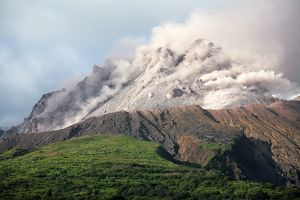 Ash and gas rising from lava dome of Soufriere Hills volcano, Montserrat, Caribbean