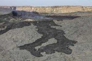 Basaltic lava flow from pit crater, Erta Ale volcano, Danakil Depression, Ethiopia