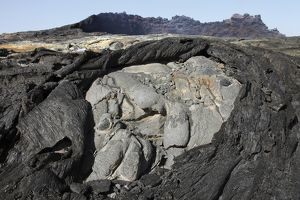 Basaltic lava flows from lava lake in pit crater, Erta Ale volcano, Danakil Depression