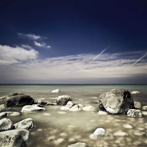 Big boulders in the sea, Liselund Slotspark, Denmark