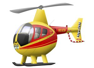 Cartoon illustration of a Robinson R44 Raven helicopter