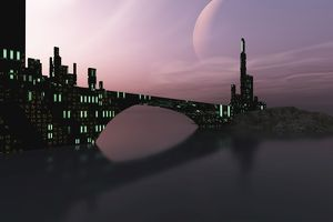 A city is reflected in calm waters on another world out in the galaxy