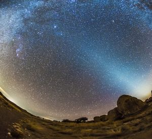 Comet Lovejoy and zodiacal light in City of Rocks State Park, New Mexico