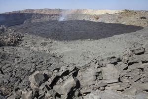 Crater floor covered with basaltic lava flows, Erta Ale volcano, Danakil Depression