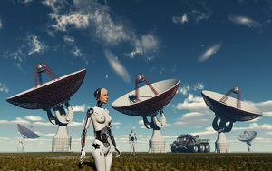 A deep space tracking station on an alien planet operated by androids