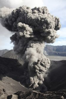 Eruption of ash cloud from crater of Mount Bromo, Tengger Caldera, Java, Indonesia