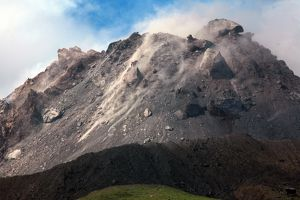 Extrusion lobes on lava dome of Soufriere Hills volcano, Montserrat, Caribbean