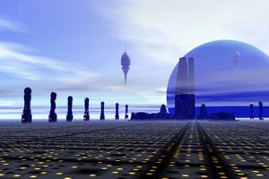 Futuristic city on a planet at the edge of the Milky Way