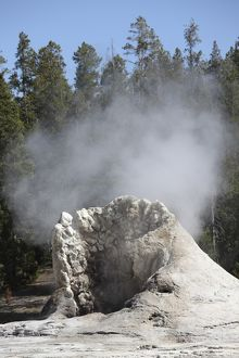 Giant Geyser steaming geyserite cone, Yellowstone National Park, Wyoming
