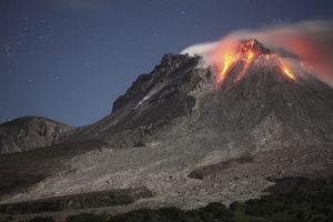 Glowing lava dome during eruption of Soufriere Hills volcano, Montserrat, Caribbean