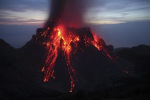 Glowing Rerombola lava dome of Paluweh volcano, Indonesia