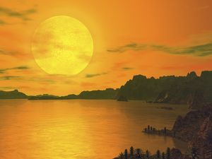 A hypothetical view across a rocky and watery terrain on extrasolar planet Gliese 581 c