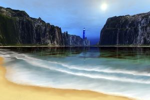 A lighthouse guards this beautiful cove