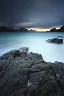 A long exposure scene at Haukland Beach in Lofoten, Norway