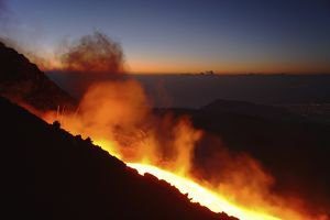 Mount Etna lava flow in morning dawn, Sicily, Italy