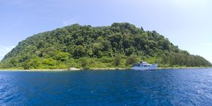 MV Spirit of Solomons moored in front of Mary Island, Solomons