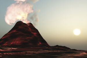 A new volcano made of molten lava expels vibrant smoke plumes