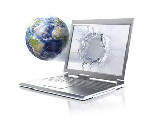 Planet Earth globe coming out from a laptop computer