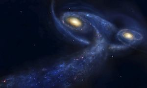 The predicted collision between the Andromeda galaxy and the Milky Way