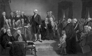 President George Washington delivering his Inaugural Address