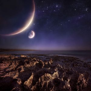 Rising plantes hover over ocean and rocky shore against starry sky
