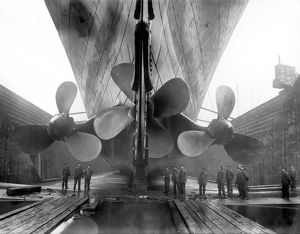 The RMS Titanica€™s propellers as the mighty ship sits in dry dock