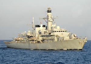 The Royal Navy frigate HMS Monmouth transits the Atlantic Ocean