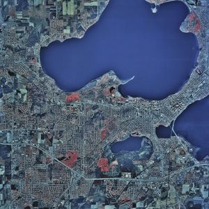 Satellite view of Madison, Wisconsin