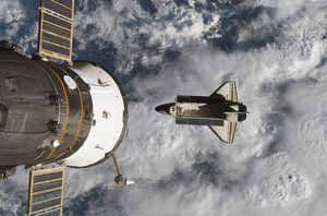 Space Shuttle Atlantis and the docked Soyuz spacecraft