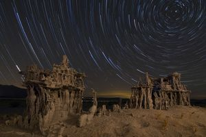 Star trails and intricate sand tufa formations at Mono Lake, California