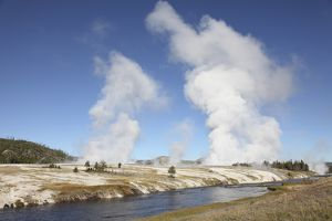 Steam rising over Midway Geyser Basin geothermal area, Yellowstone National Park, Wyoming