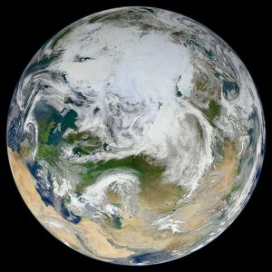 A synthesized view of Earth showing the Arctic, Europe and Asia