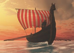 A Viking longboat sails to new shores