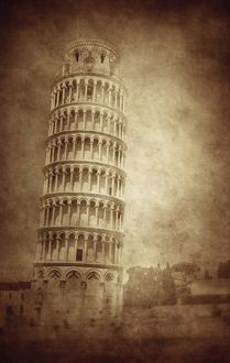 Vintage photo of the Leaning Tower of Pisa, Italy