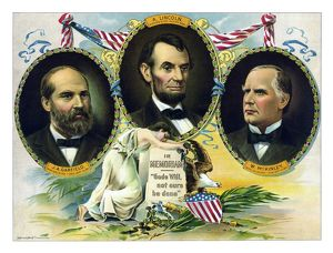Vintage print of Presidents James Garfield, Abraham Lincoln, and William McKinley